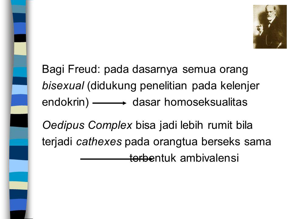 Bagi Freud: pada dasarnya semua orang bisexual (didukung penelitian pada kelenjer endokrin) dasar homoseksualitas