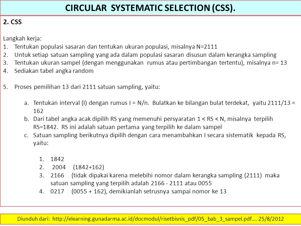 CIRCULAR SYSTEMATIC SELECTION (CSS).