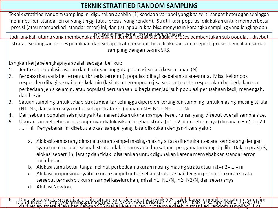 TEKNIK STRATIFIED RANDOM SAMPLING