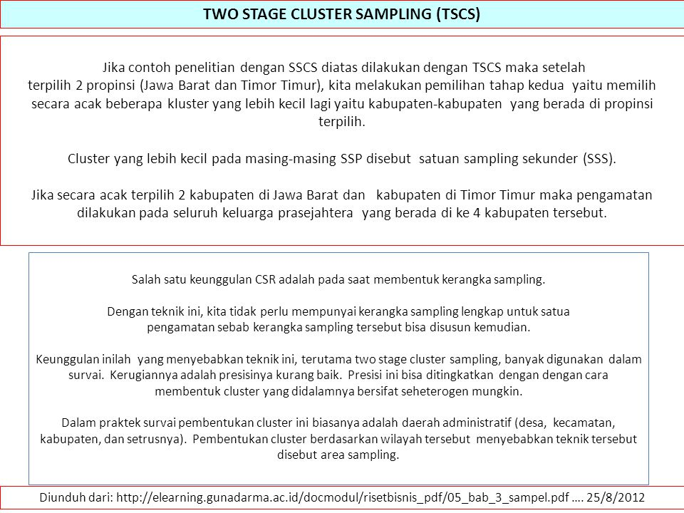 TWO STAGE CLUSTER SAMPLING (TSCS)