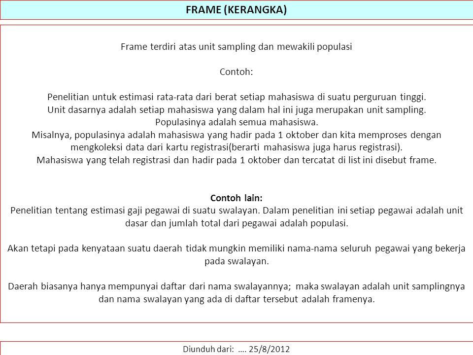 FRAME (KERANGKA) Frame terdiri atas unit sampling dan mewakili populasi. Contoh: