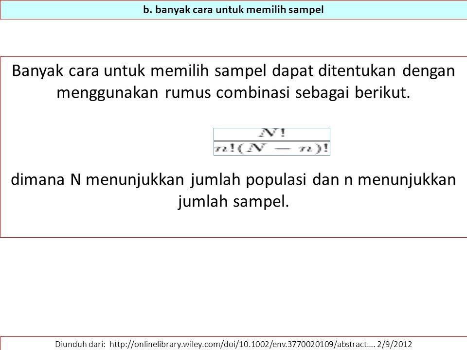 b. banyak cara untuk memilih sampel