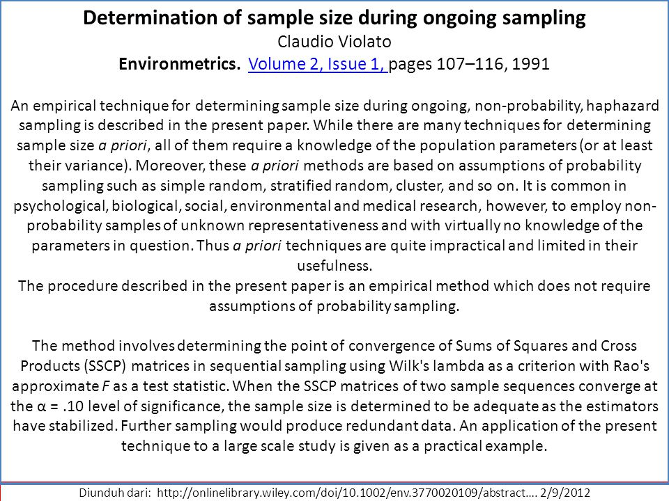 Determination of sample size during ongoing sampling