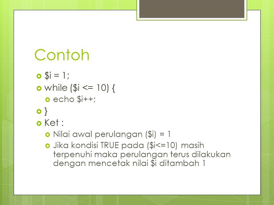 Contoh $i = 1; while ($i <= 10) { } Ket : echo $i++;
