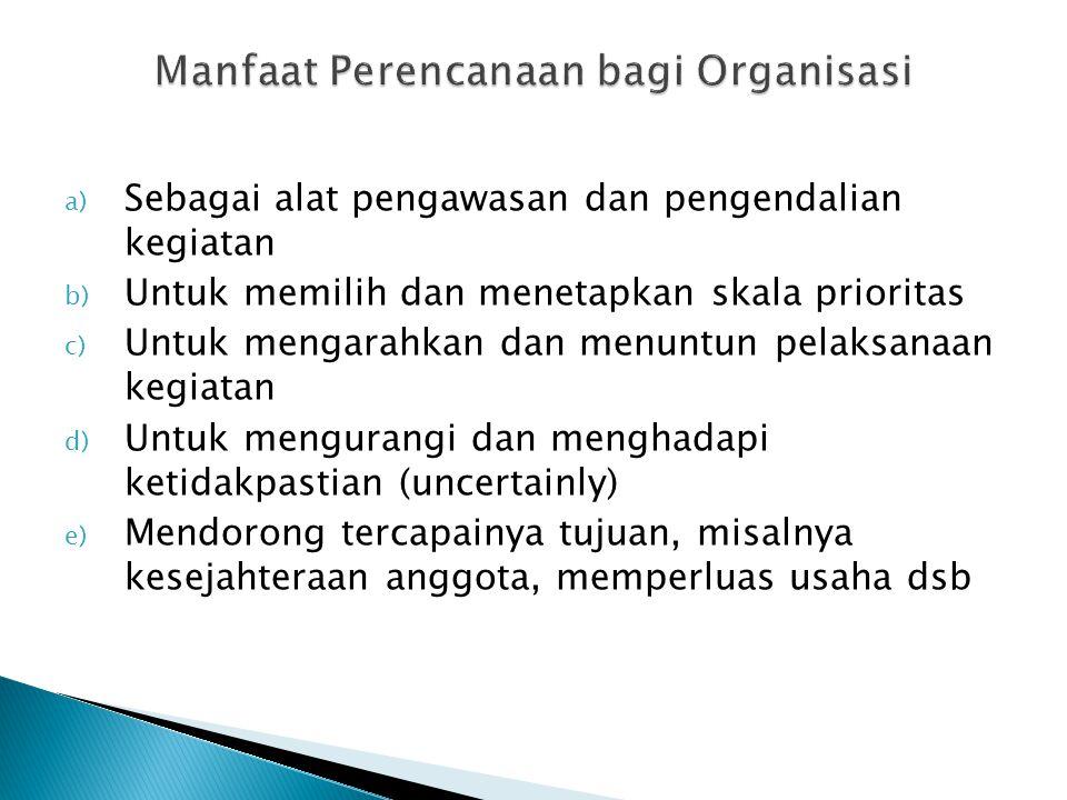 Manfaat Perencanaan bagi Organisasi