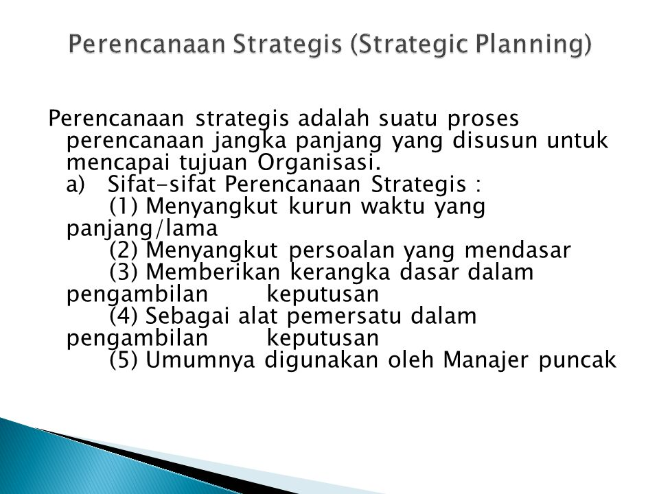 Perencanaan Strategis (Strategic Planning)