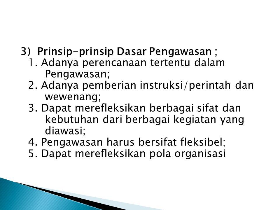 3) Prinsip-prinsip Dasar Pengawasan ; 1
