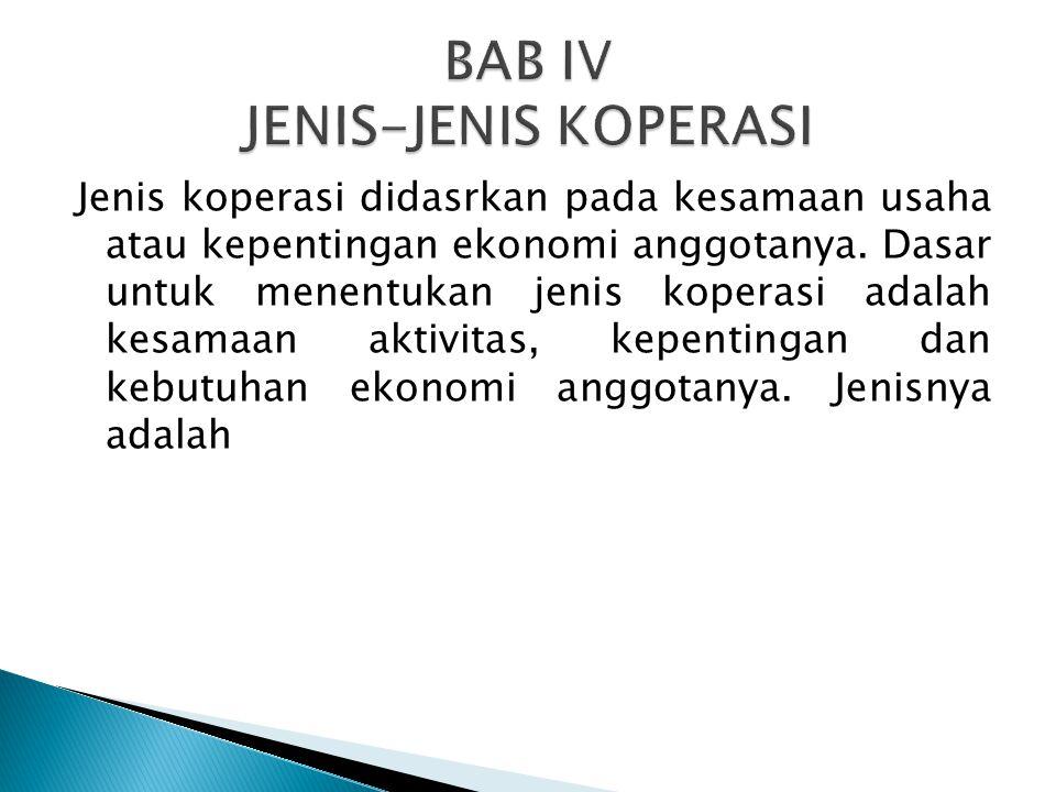 BAB IV JENIS-JENIS KOPERASI