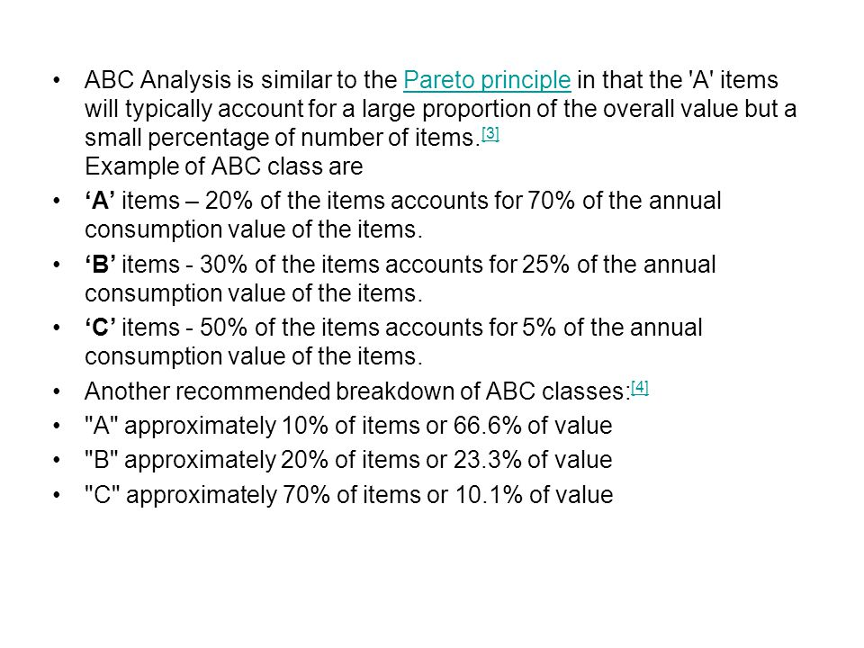 ABC analysis ABC analysis is a business term used to define an inventory categorization technique often used in materials management.