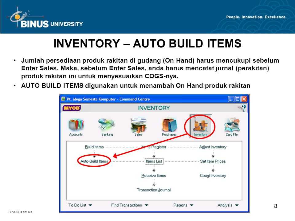 INVENTORY – AUTO BUILD ITEMS