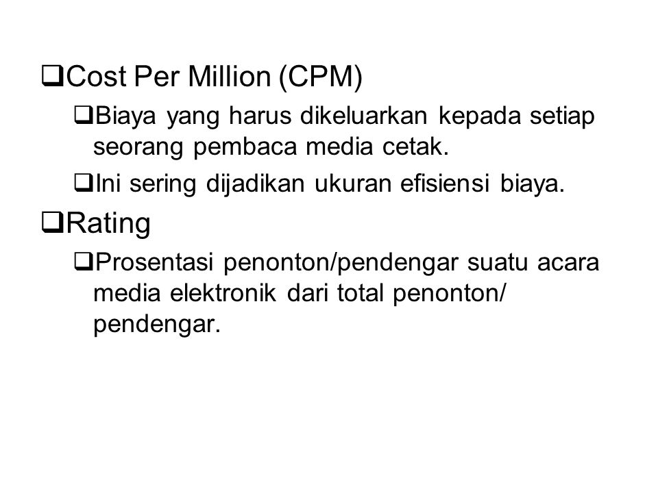 Cost Per Million (CPM) Rating