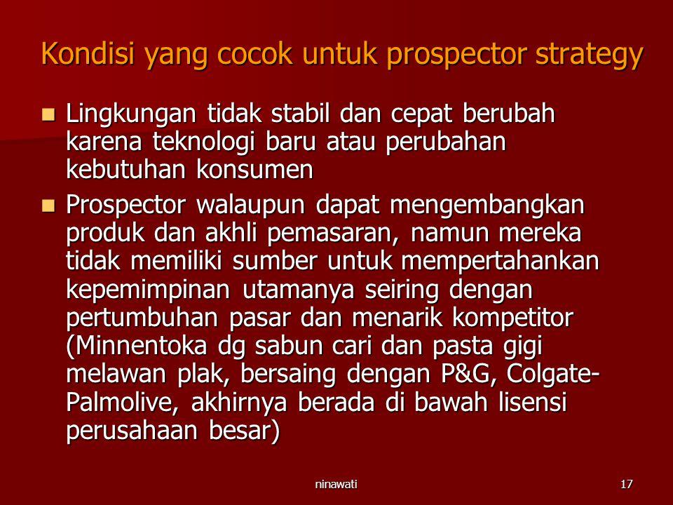 Kondisi yang cocok untuk prospector strategy