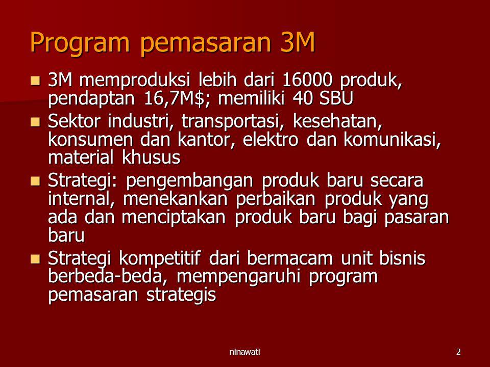 Program pemasaran 3M 3M memproduksi lebih dari 16000 produk, pendaptan 16,7M$; memiliki 40 SBU.