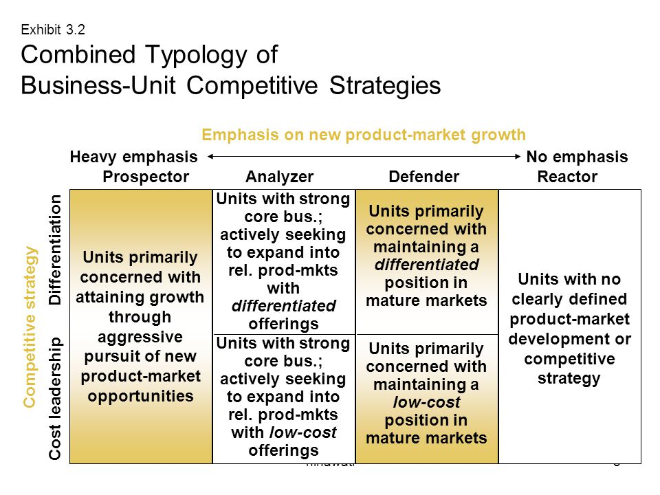 Exhibit 3.2 Combined Typology of Business-Unit Competitive Strategies