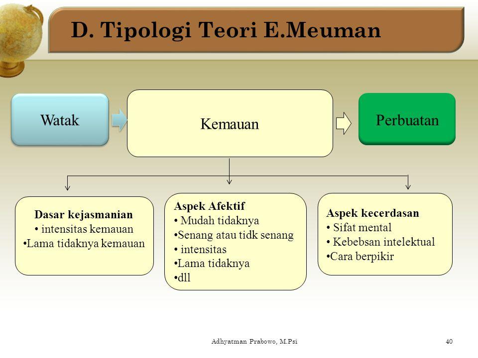 D. Tipologi Teori E.Meuman