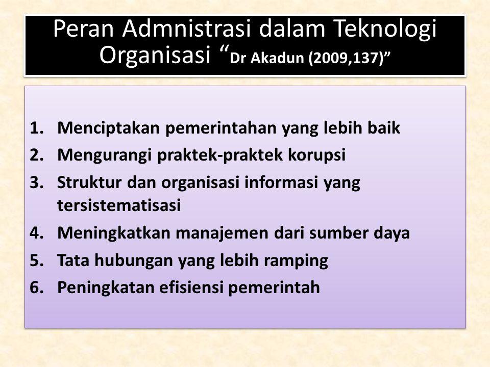 Peran Admnistrasi dalam Teknologi Organisasi Dr Akadun (2009,137)