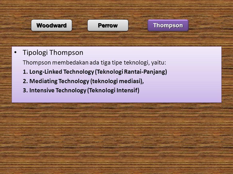 Tipologi Thompson Thompson membedakan ada tiga tipe teknologi, yaitu: