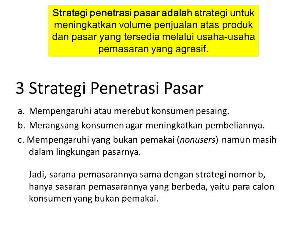 3 Strategi Penetrasi Pasar