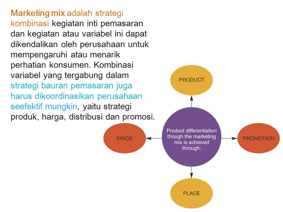Marketing mix adalah strategi kombinasi kegiatan inti pemasaran dan kegiatan atau variabel ini dapat dikendalikan oleh perusahaan untuk mempengaruhi atau menarik perhatian konsumen.
