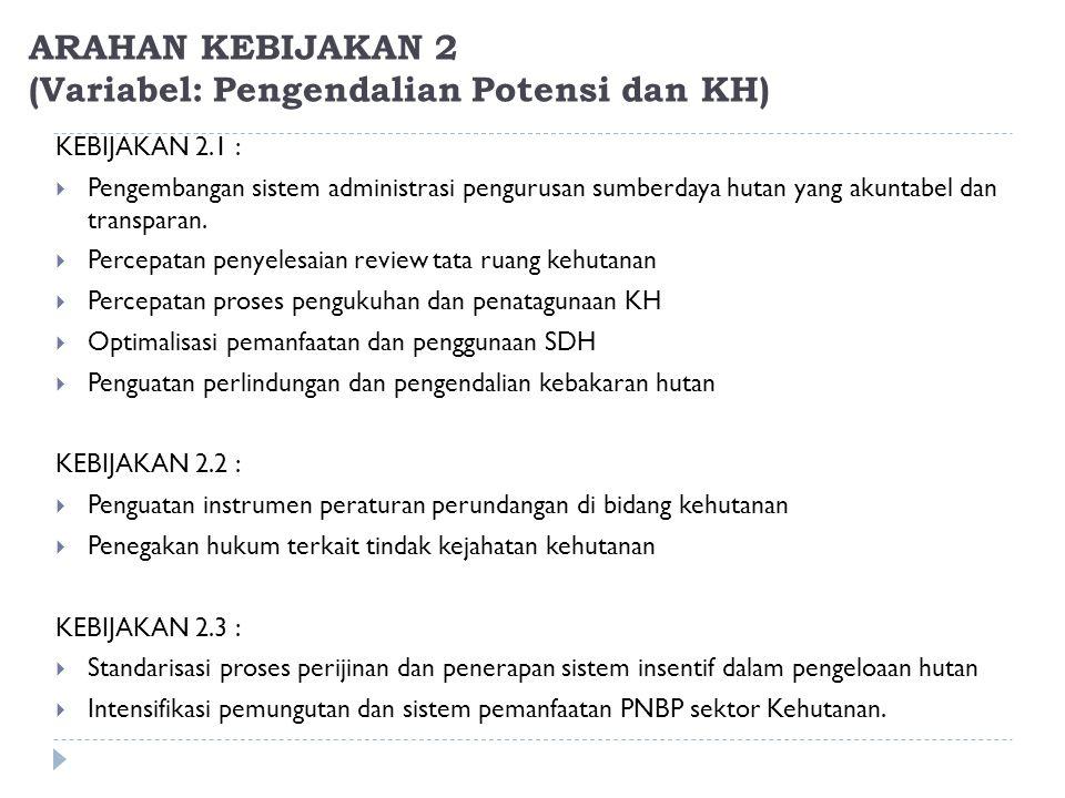 ARAHAN KEBIJAKAN 2 (Variabel: Pengendalian Potensi dan KH)