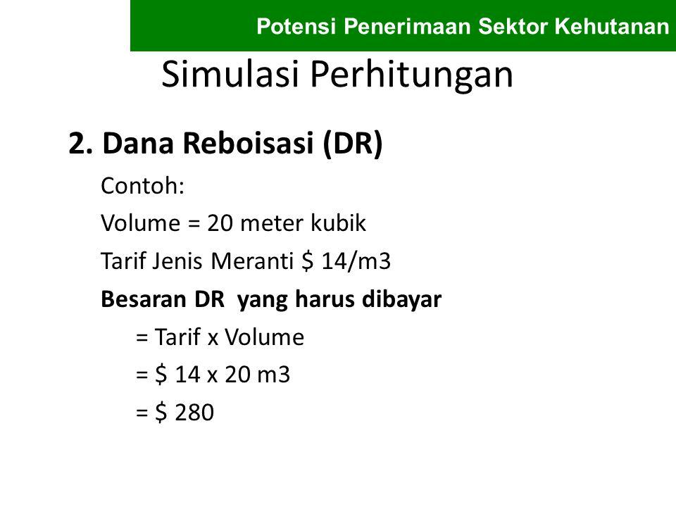 Simulasi Perhitungan 2. Dana Reboisasi (DR) Contoh: