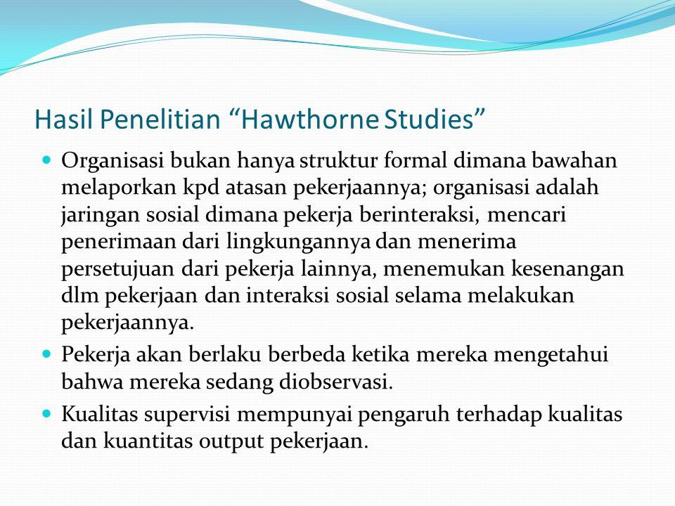 Hasil Penelitian Hawthorne Studies