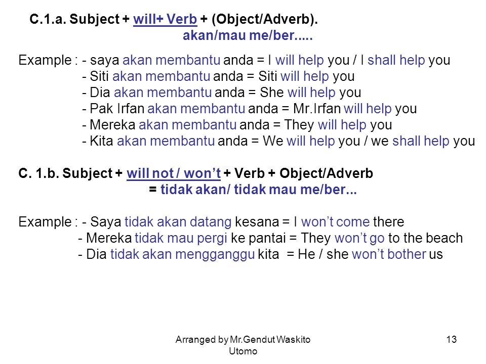 C.1.a. Subject + will+ Verb + (Object/Adverb). akan/mau me/ber.....