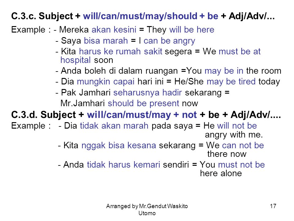 C.3.c. Subject + will/can/must/may/should + be + Adj/Adv/...