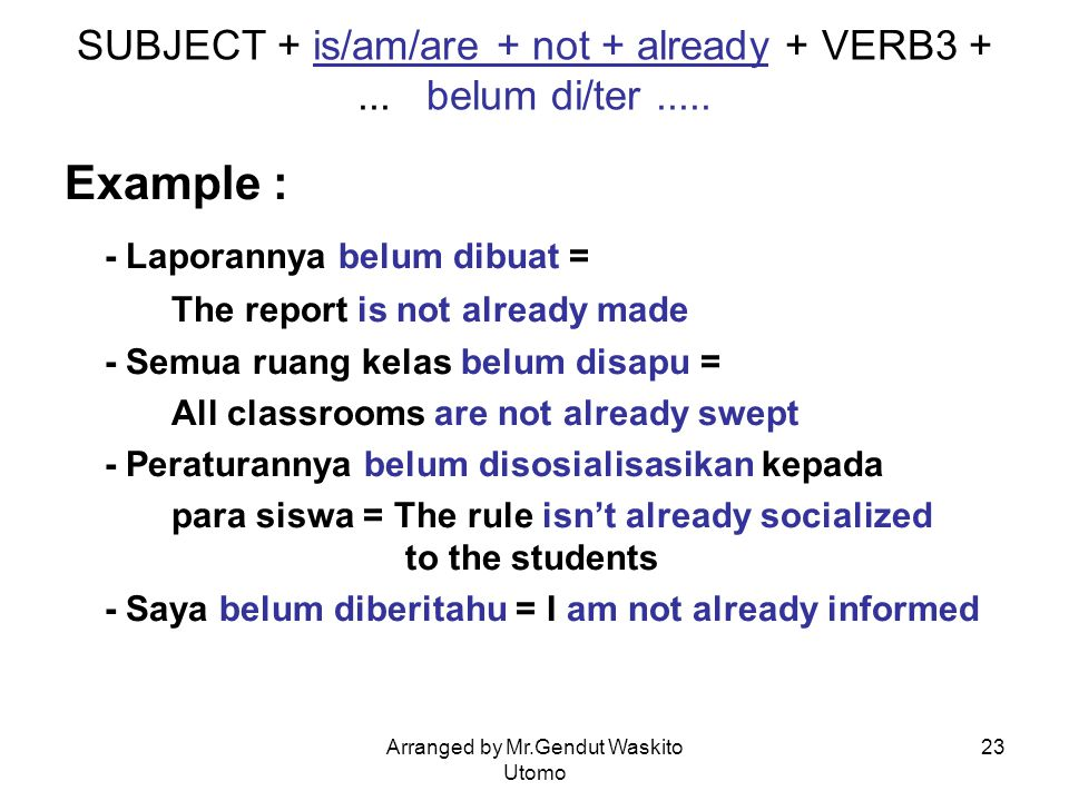 SUBJECT + is/am/are + not + already + VERB3 + ... belum di/ter .....