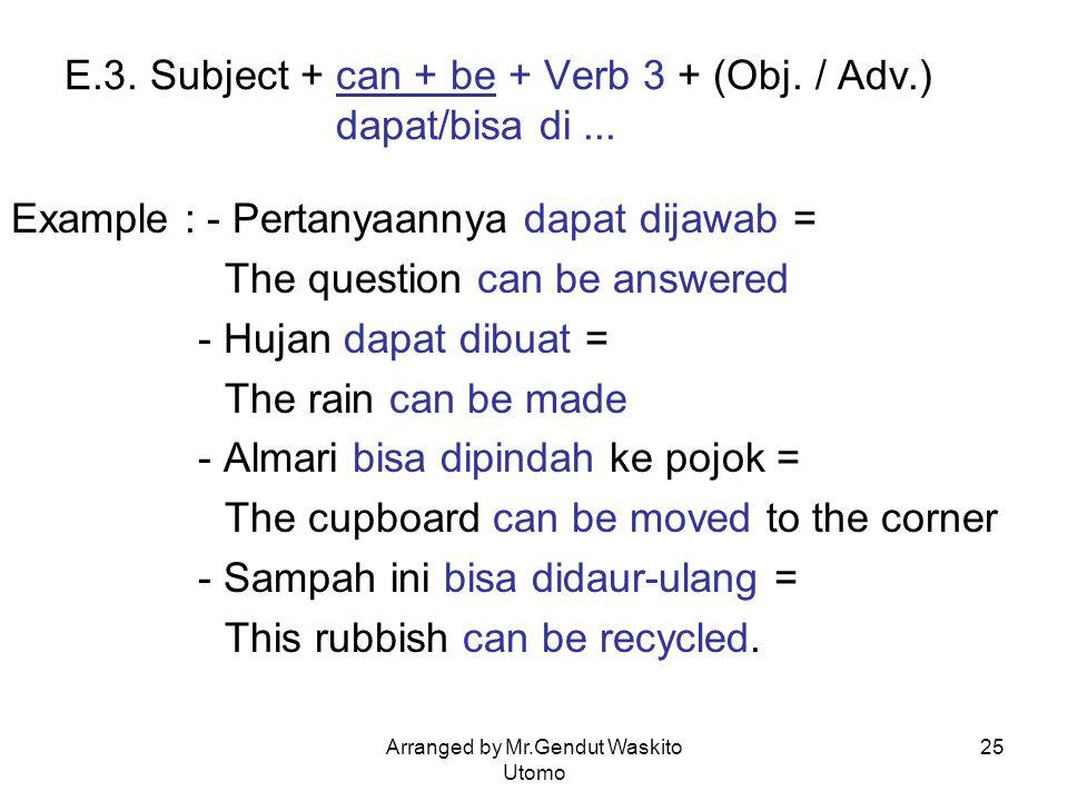 E.3. Subject + can + be + Verb 3 + (Obj. / Adv.) dapat/bisa di ...
