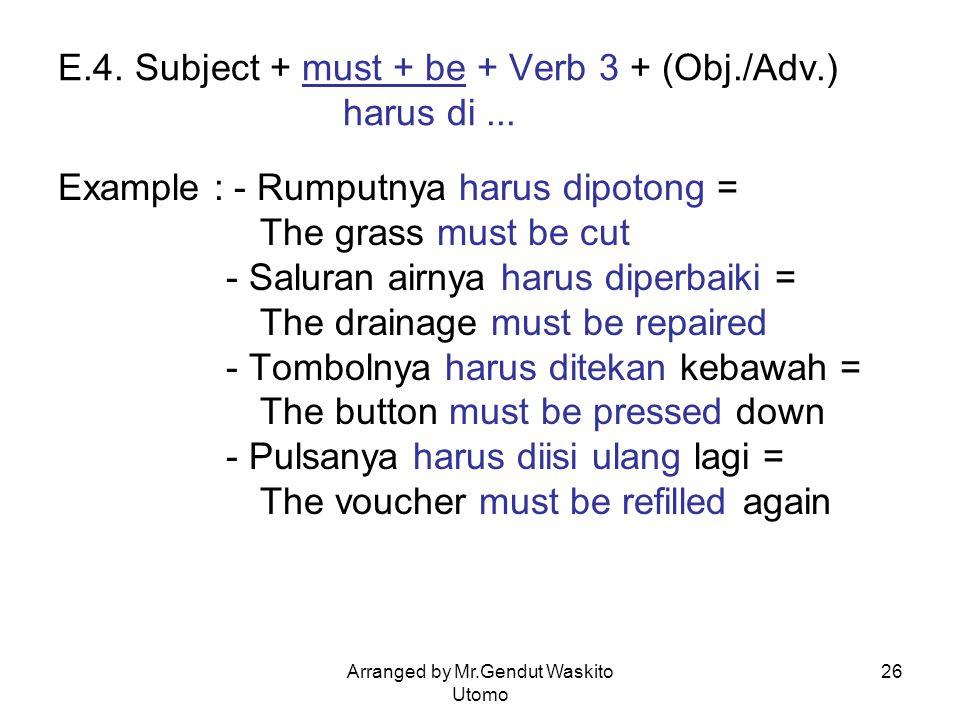 E.4. Subject + must + be + Verb 3 + (Obj./Adv.) harus di ...