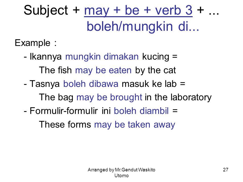 Subject + may + be + verb 3 + ... boleh/mungkin di...