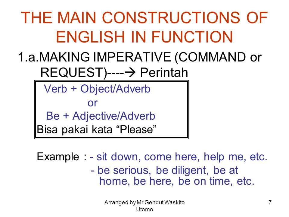 THE MAIN CONSTRUCTIONS OF ENGLISH IN FUNCTION