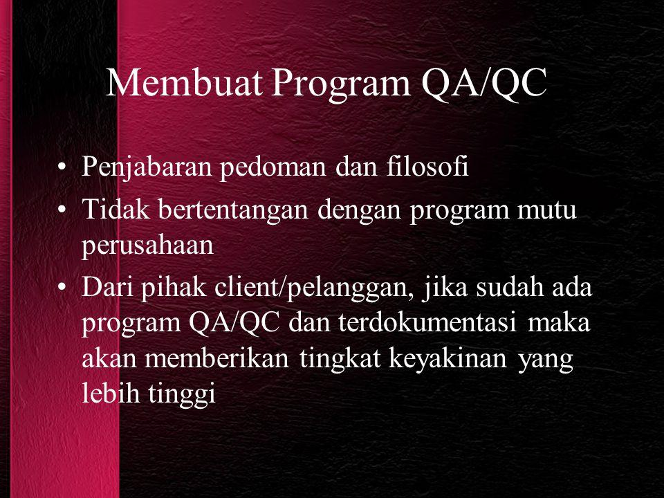 Membuat Program QA/QC Penjabaran pedoman dan filosofi