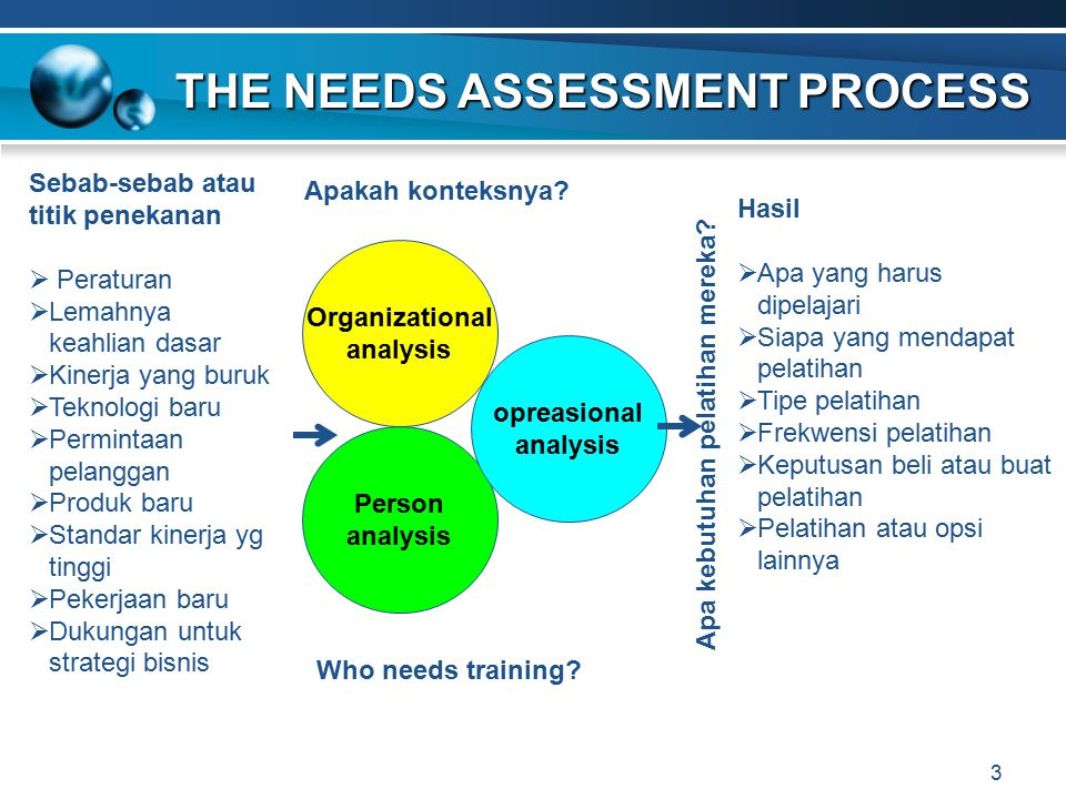 THE NEEDS ASSESSMENT PROCESS