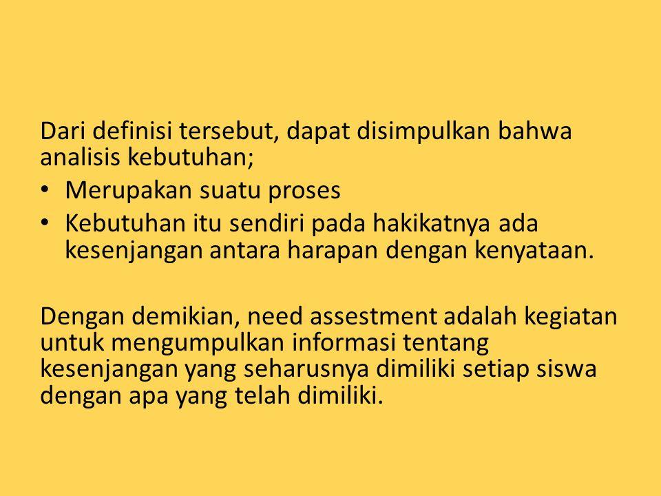 Dari definisi tersebut, dapat disimpulkan bahwa analisis kebutuhan;