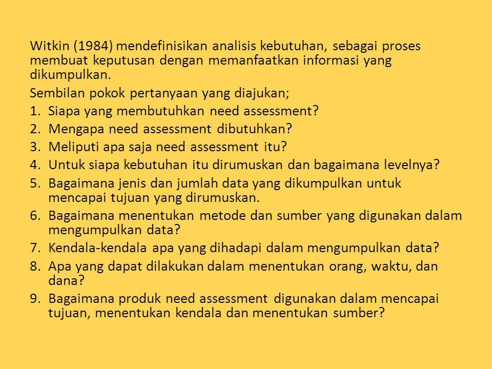 Witkin (1984) mendefinisikan analisis kebutuhan, sebagai proses membuat keputusan dengan memanfaatkan informasi yang dikumpulkan.