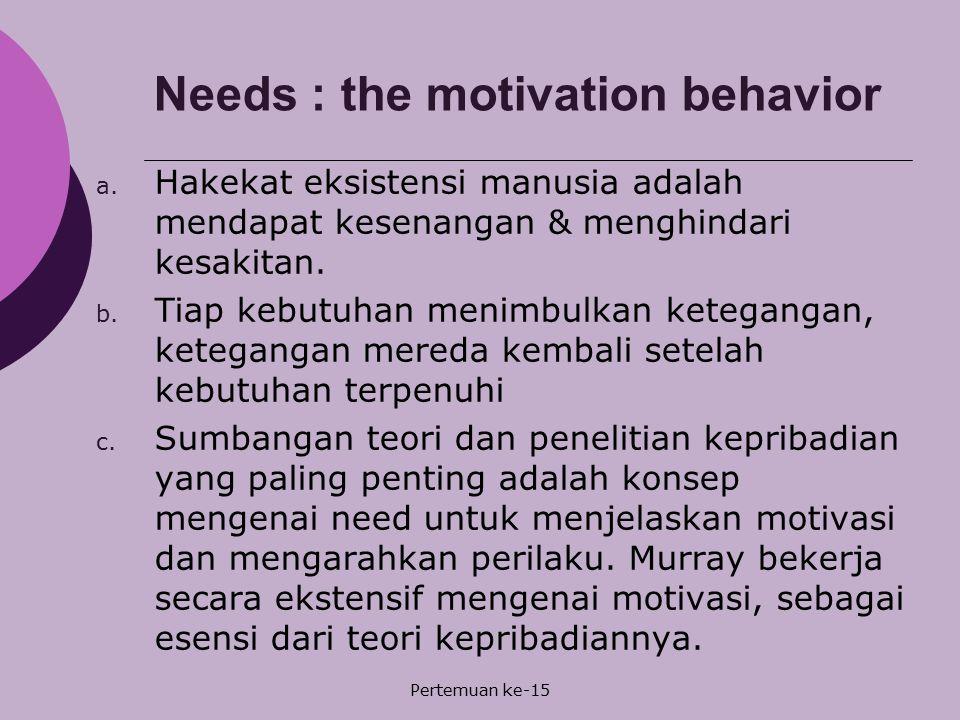 Needs : the motivation behavior