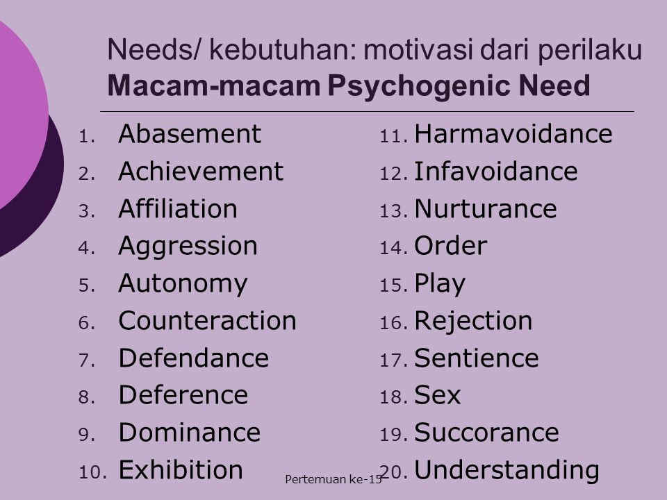 Needs/ kebutuhan: motivasi dari perilaku Macam-macam Psychogenic Need
