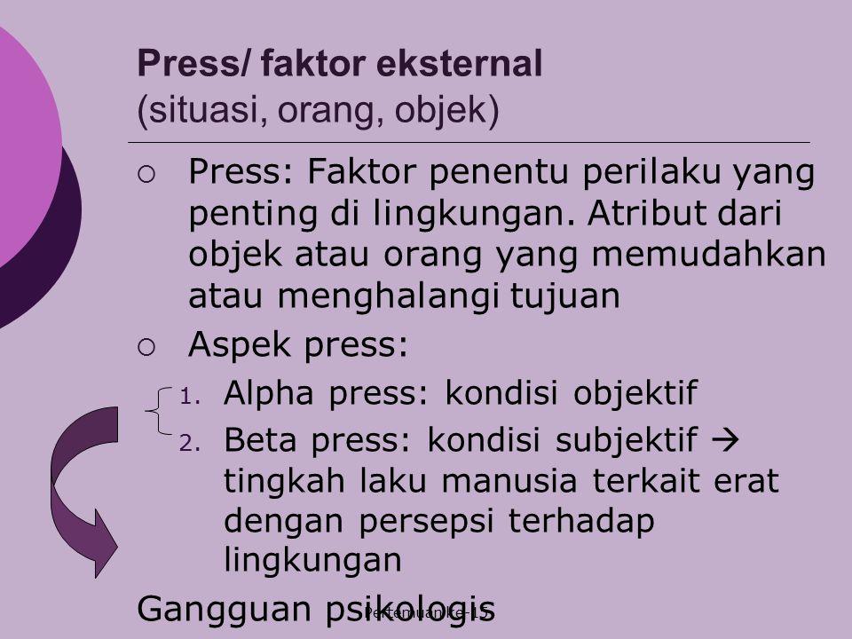 Press/ faktor eksternal (situasi, orang, objek)