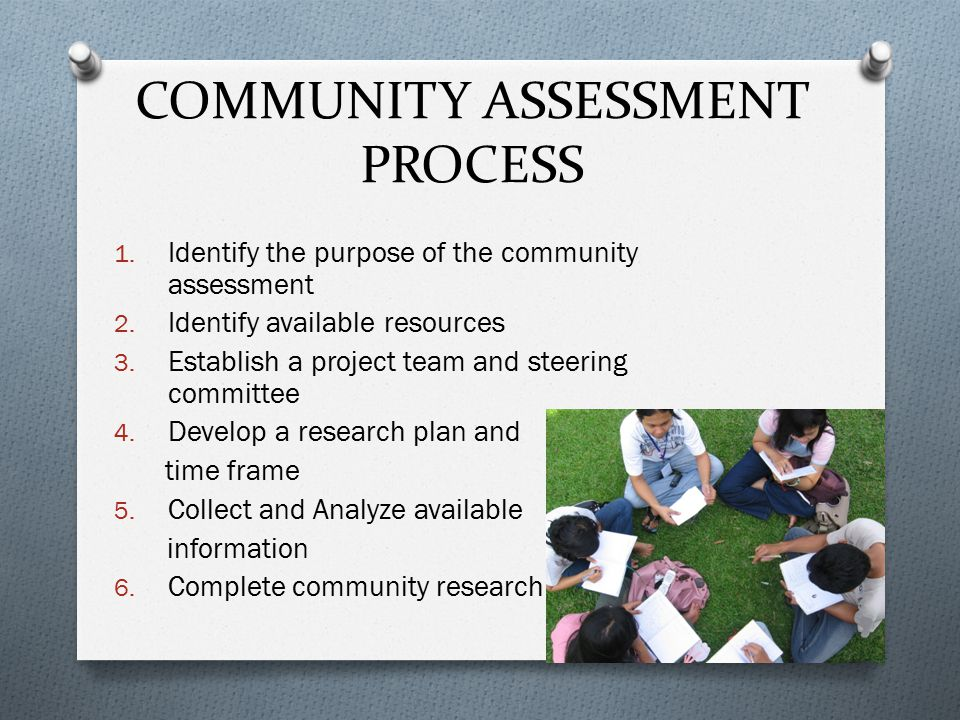 COMMUNITY ASSESSMENT PROCESS