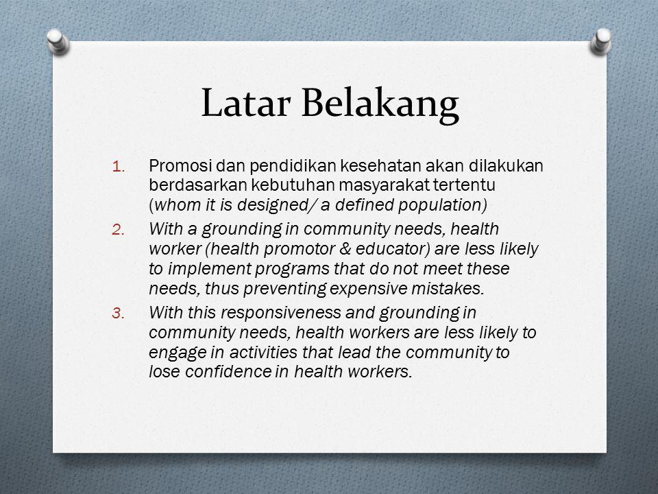 Latar Belakang Promosi dan pendidikan kesehatan akan dilakukan berdasarkan kebutuhan masyarakat tertentu (whom it is designed/ a defined population)
