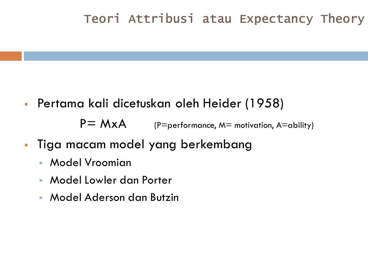 Teori Attribusi atau Expectancy Theory