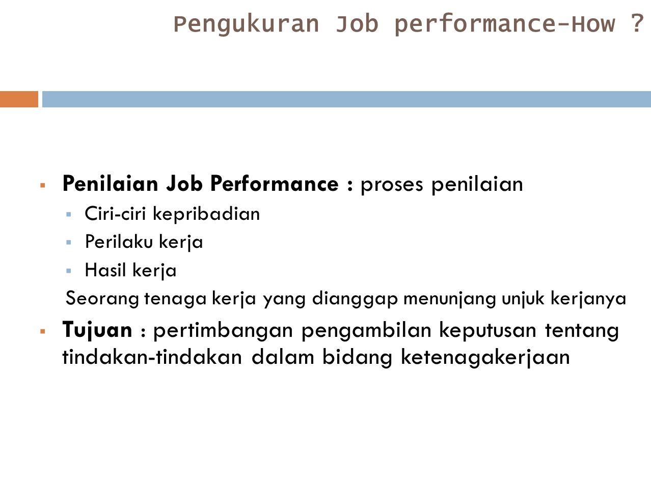 Pengukuran Job performance-How