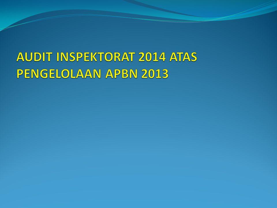 AUDIT INSPEKTORAT 2014 ATAS PENGELOLAAN APBN 2013