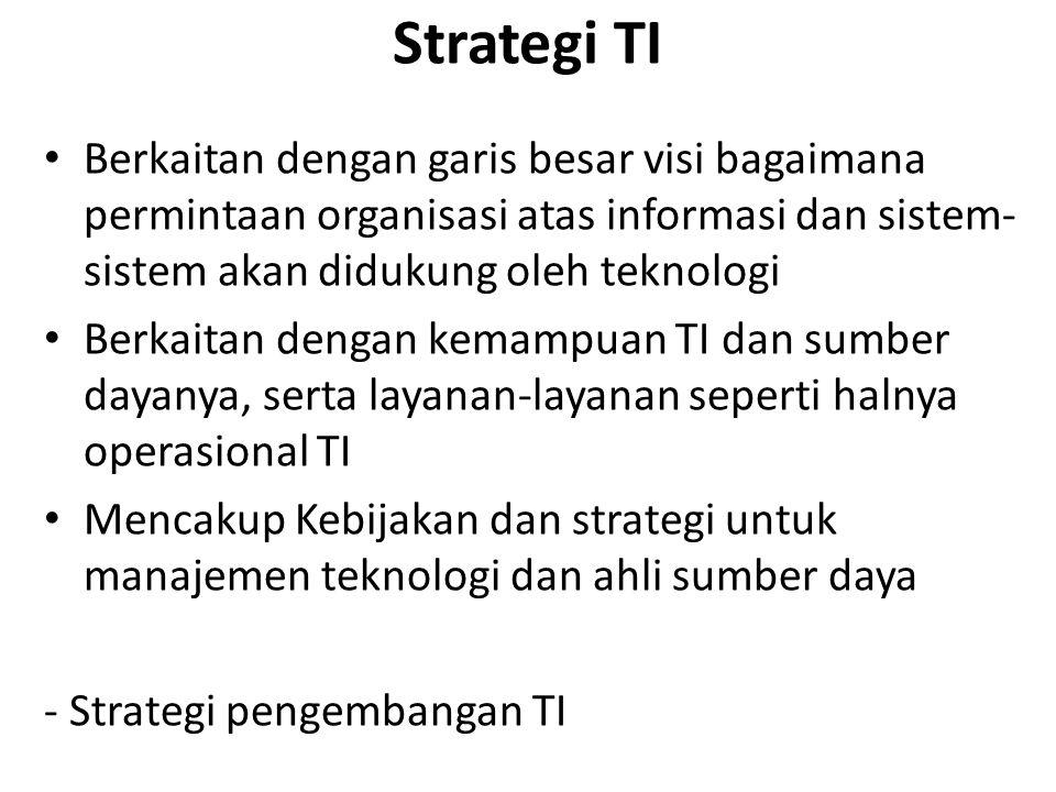 Strategi TI Berkaitan dengan garis besar visi bagaimana permintaan organisasi atas informasi dan sistem-sistem akan didukung oleh teknologi.