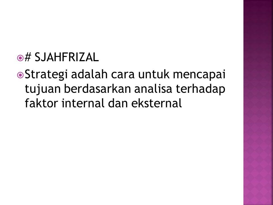 # SJAHFRIZAL Strategi adalah cara untuk mencapai tujuan berdasarkan analisa terhadap faktor internal dan eksternal.