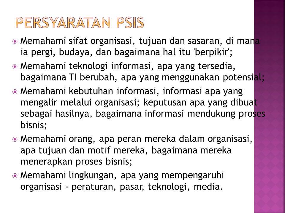 Persyaratan PSIS Memahami sifat organisasi, tujuan dan sasaran, di mana ia pergi, budaya, dan bagaimana hal itu berpikir ;