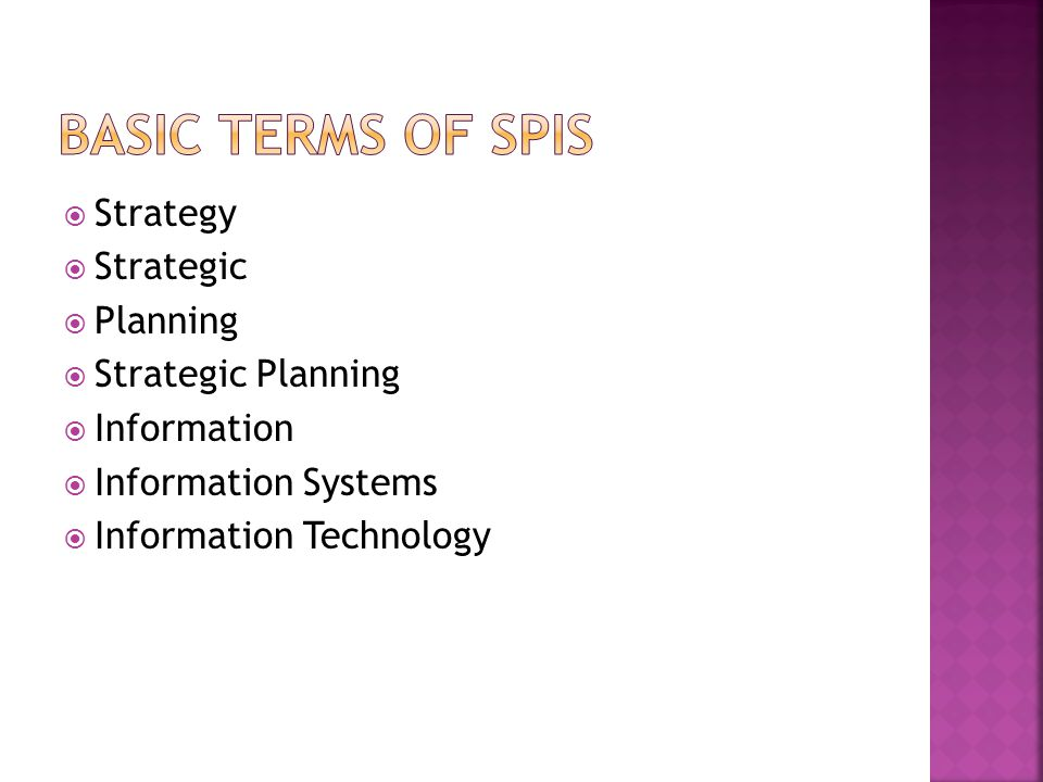 Basic Terms of SPIS Strategy Strategic Planning Strategic Planning