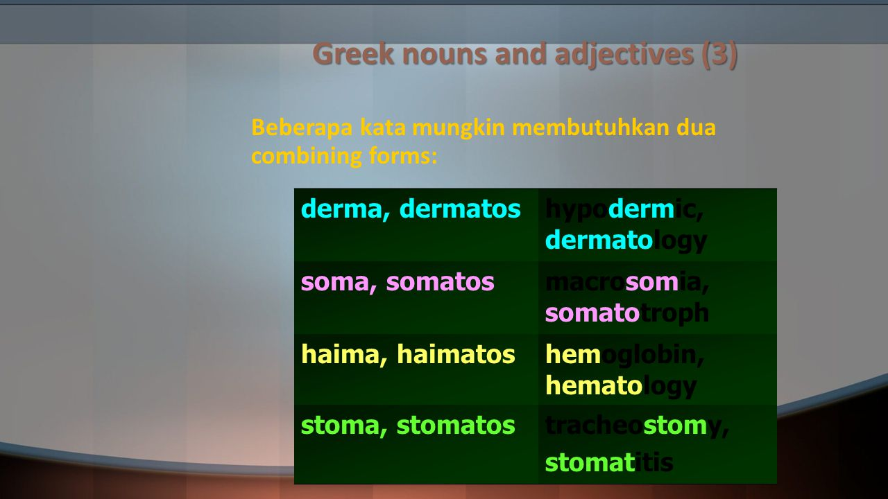 Greek nouns and adjectives (3)